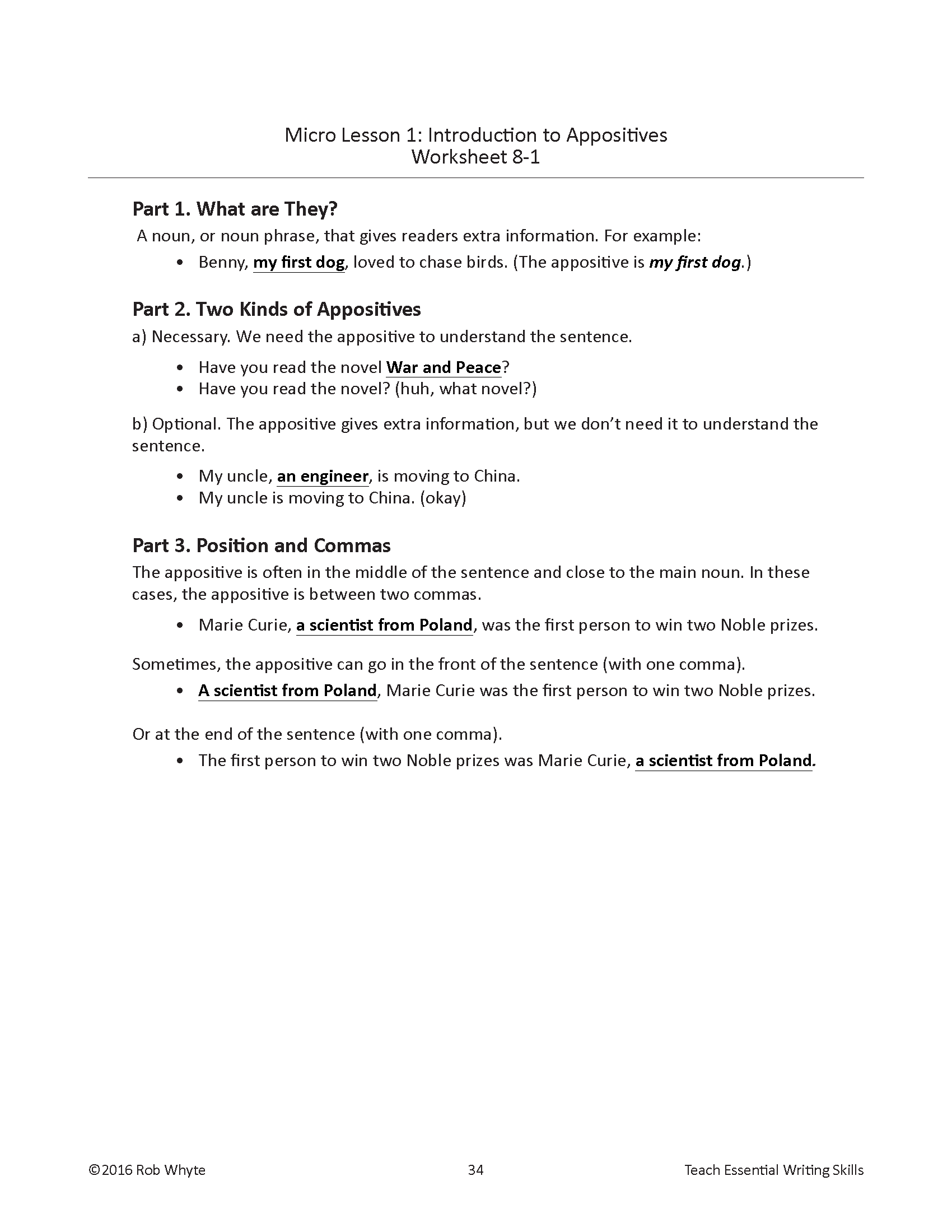 Worksheets Appositives Worksheet improve writing profiiency eslwriting org edit the short passage in part 2 of worksheet 8 3 check answers on appositive 1