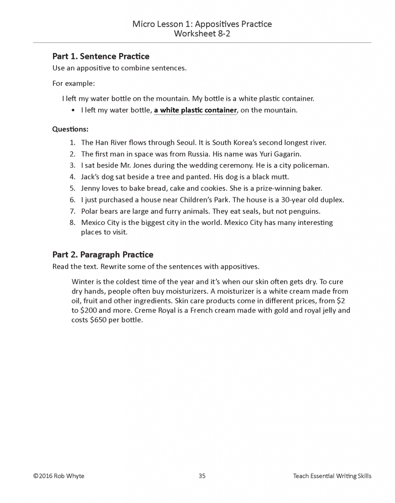 Worksheets Appositives Worksheet improve writing profiiency eslwriting org appositive 2