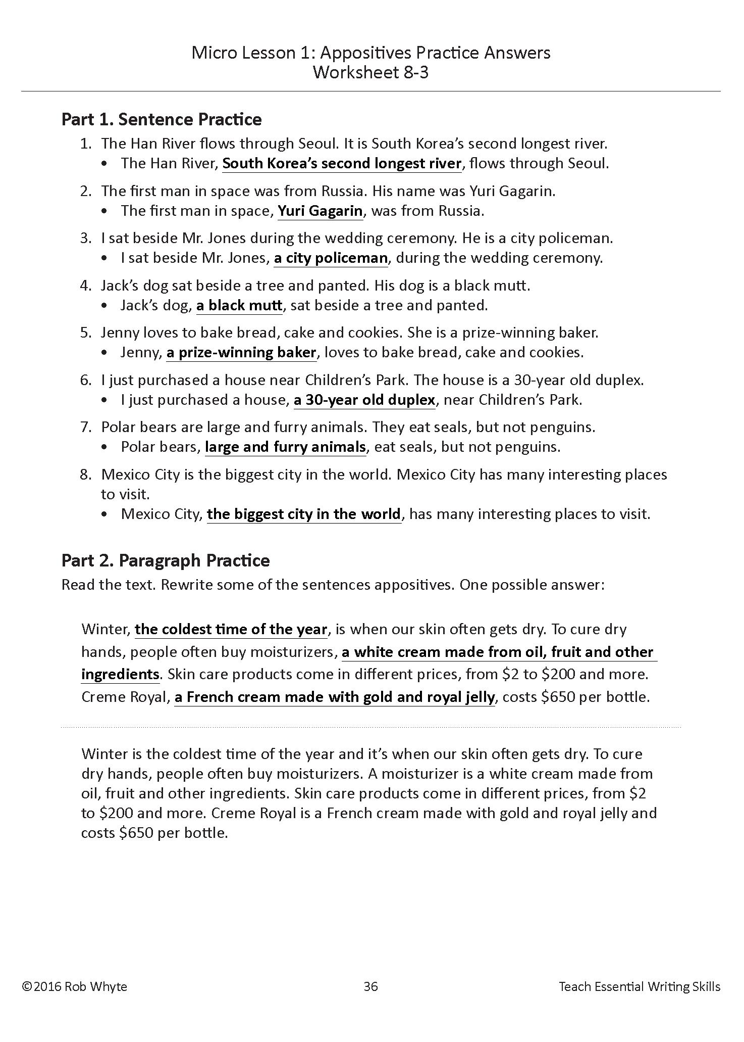 worksheet Appositive Practice Worksheet appositive 3 eslwriting org 3